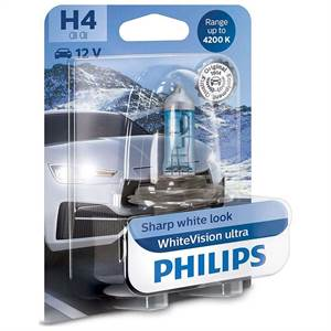 PHILIPS H4 WHITEVISION ULTRA 12V 60/55W P43T-38