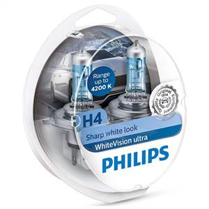 PHILIPS H4 WHITEVISION ULTRA - 2-PAK
