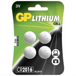 GP LITHIUM KNAPCELLE BATTERIER 3V CR2016