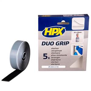 HPX DUO GRIP - SORT SELVKLÆBENDE VELCOBÅND 25MM X 2 M
